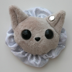 Cat Plushie - Pale Grey With Party Holo Ruffle