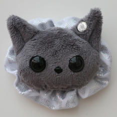 Cat Plushie - Dark Grey With Party Holo Ruffle