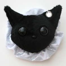 Cat Plushie - Black With Party Holo Ruffle