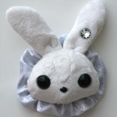 Rabbit Plushie - White With Party Holo Ruffle