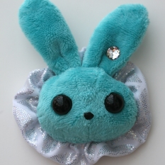 Rabbit Plushie - Aqua With Party Holo Ruffle