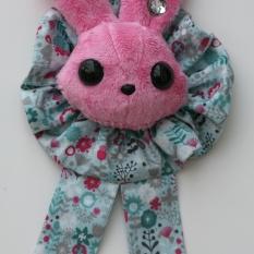 Rabbit Plushie Pink - Rosette Ruffle