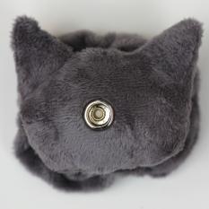 Cat Plushie - Dark Grey With Matching Ruffle Reverse