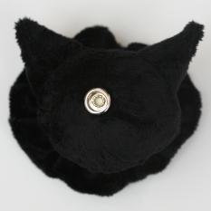 Cat Plushie - Black With Matching Ruffle Reverse