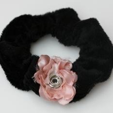 Popper Charm Hair Scrunchie - Black