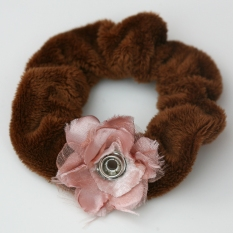 Popper Charm Hair Scrunchie - Brown